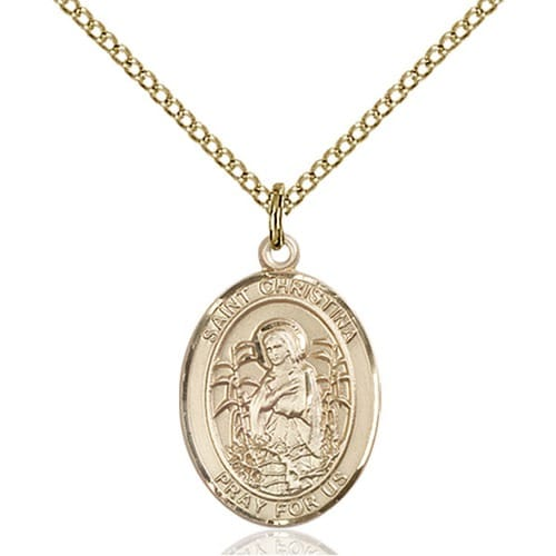 14kt Gold Filled St. Christina the Astonishing Pendant w/ Chain