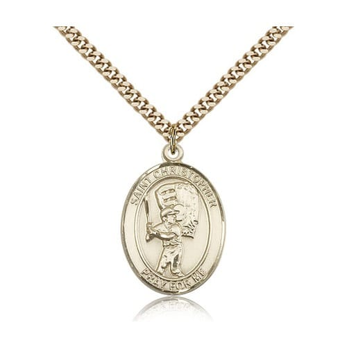 14kt Gold Filled St. Christopher Medal w/ chain - Baseball w/ Mit