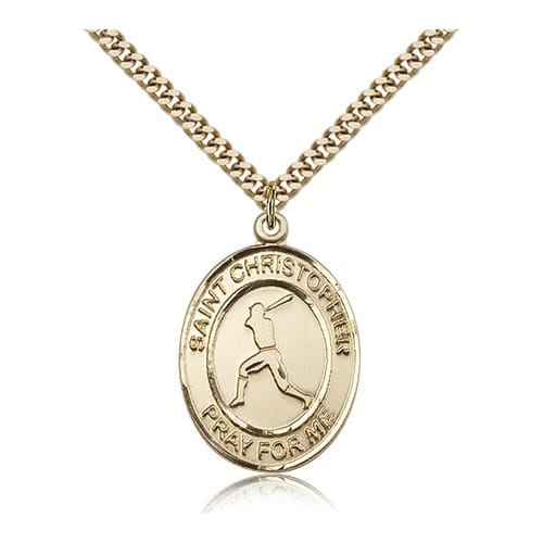 14kt Gold Filled St. Christopher Medal w/ chain - Baseball