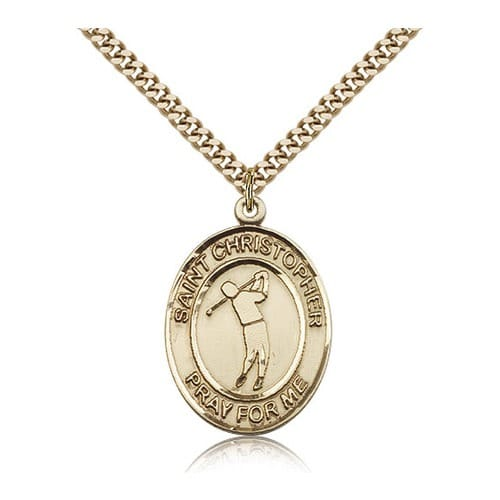 14kt Gold Filled St. Christopher Medal w/ chain - Golf