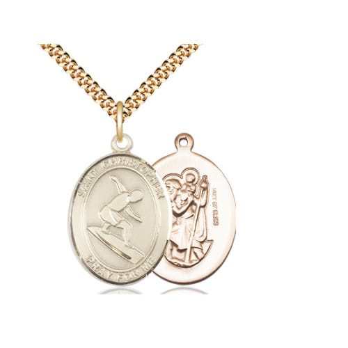 Gold Filled St. Christopher Medal w/ chain - Surfer