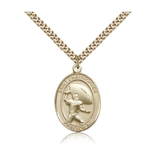 14kt Gold Filled St. ChristpherMedal w/ chain - Football