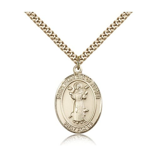 14kt Gold Filled St. Francis of Assisi Pendant w/ chain