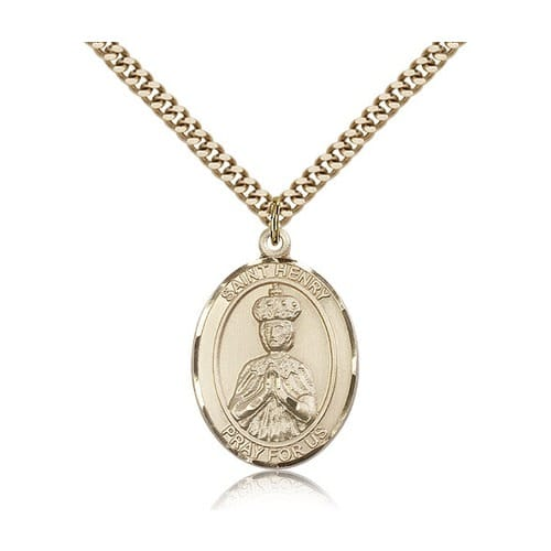 14kt Gold Filled St. Henry II Pendant w/ chain