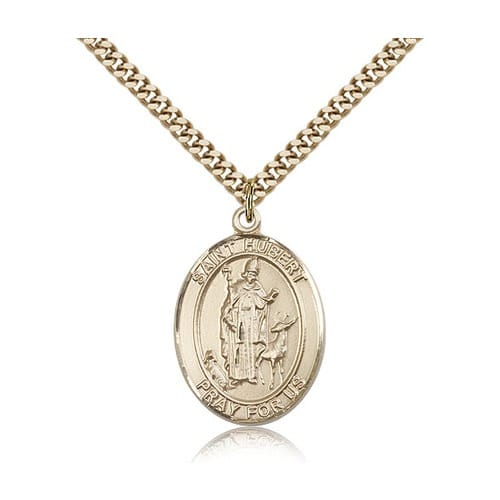 14kt Gold Filled St. Hubert of Liege Pendant w/ chain