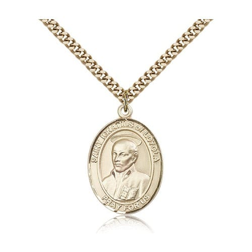 14kt Gold Filled St. Ignatius of Loyola Pendant w/ chain