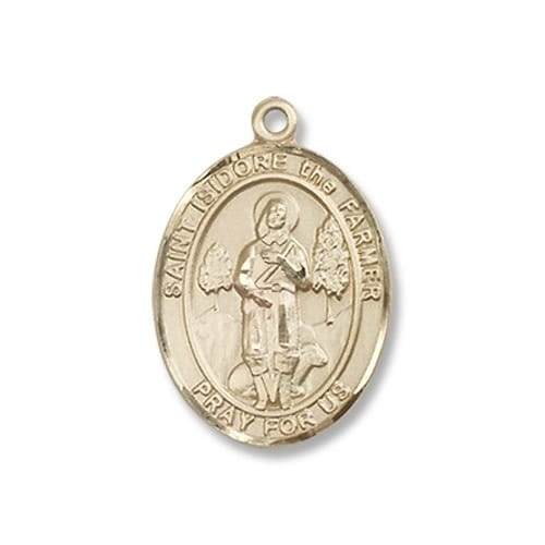 14kt Gold Filled St. Isidore the Farmer Pendant w/ Chain
