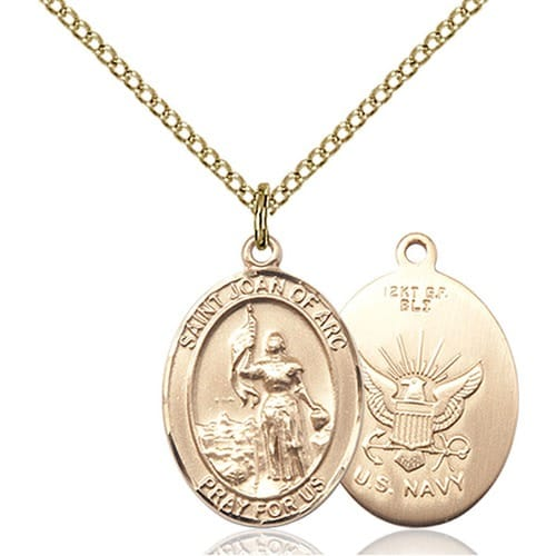 Gold filled st joan of arc navy pendant w chain the catholic gold filled st joan of arc navy pendant w chain mozeypictures Images