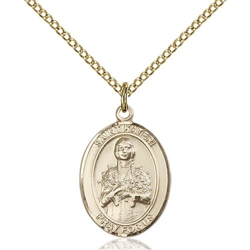 Gold Filled St. Kateri Pendant w/ Chain