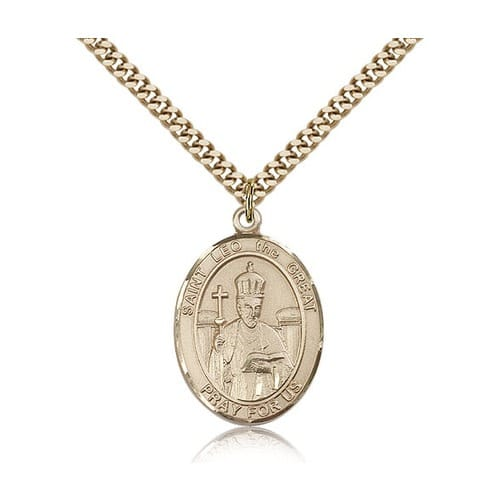 14kt Gold Filled St. Leo the Great Pendant w/ chain