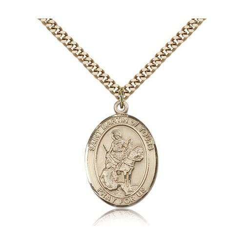 14kt Gold Filled St. Martin of Tours Pendant w/ chain