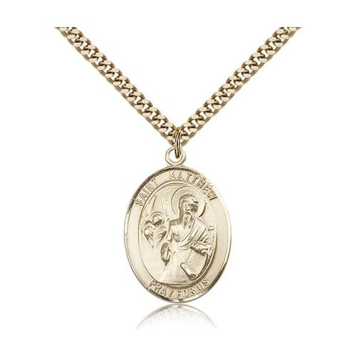 14kt Gold Filled St. Matthew the Apostle Pendant w/ chain