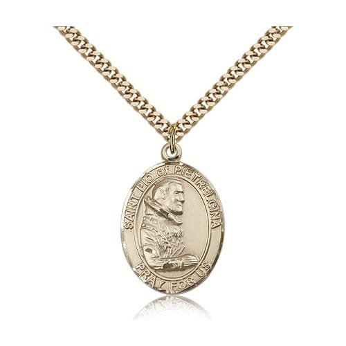 14kt Gold Filled St. Pio of Pietrelcina Pendant w/ chain