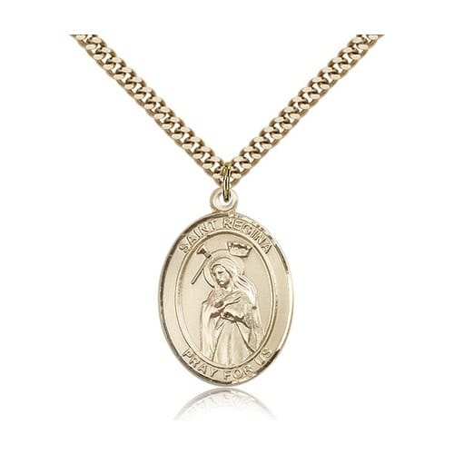 14kt Gold Filled St. Regina Pendant w/ chain