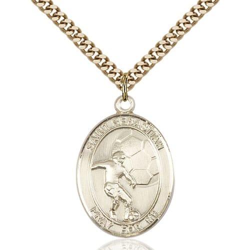 14kt gold filled st sebastian soccer pendant w chain