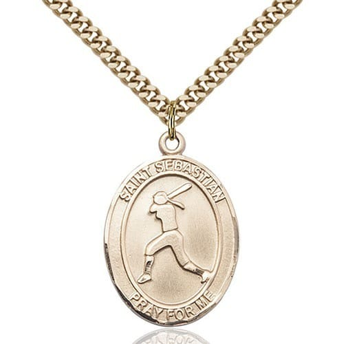 14kt Gold Filled St. Sebastian / Softball Pendant w/ chain