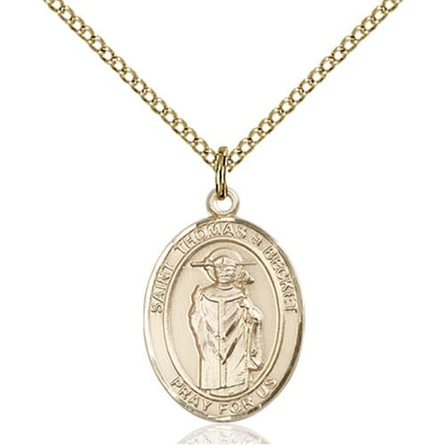 14kt Gold Filled St. Thomas A Becket Pendant w/ Chain