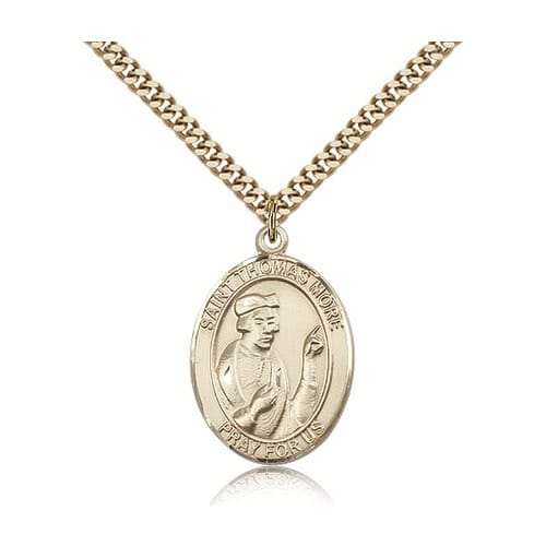 14kt Gold Filled St. Thomas More Pendant w/ chain