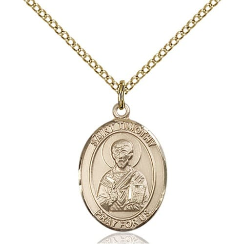 Gold Filled St. Timothy Pendant w/ Chain