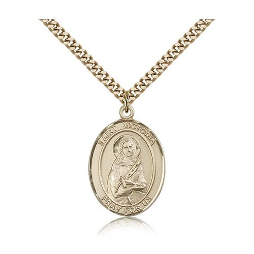 14kt Gold Filled St. Victoria Pendant w/ chain
