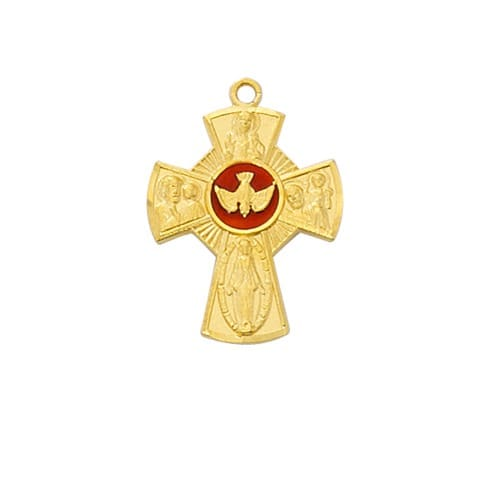 Gold 4-Way Holy Spirit Enamel Necklace