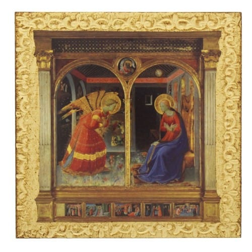 gold leaf annunciation small plaque the catholic company