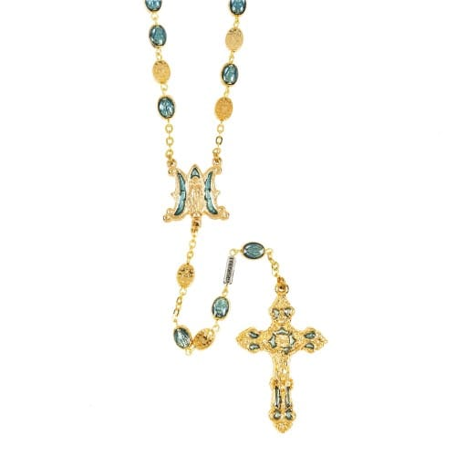 Gold Plated Miraculous Medal Bead Rosary