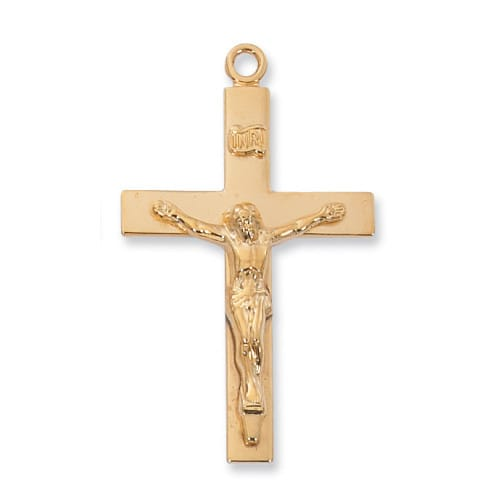 Gold-plated over Sterling Silver Lord's Prayer Crucifix with 24 inch Chain