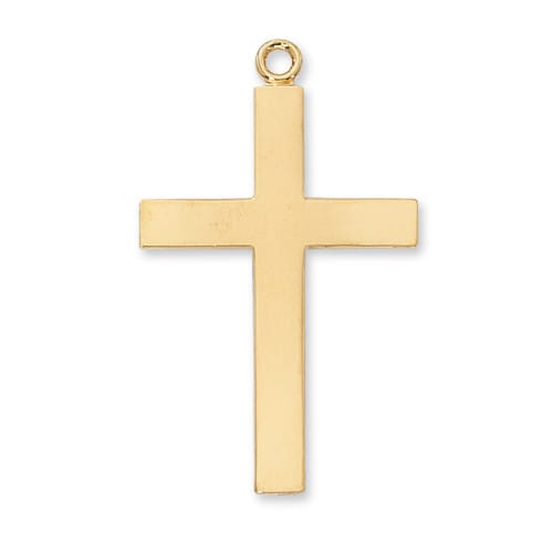 Gold-plated Sterling Silver Lord's Prayer Cross on 24 inch Chain