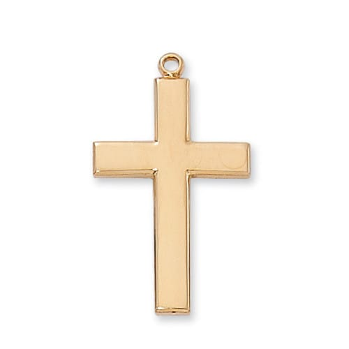 Gold/Sterling Silver Cross with 24 inch chain