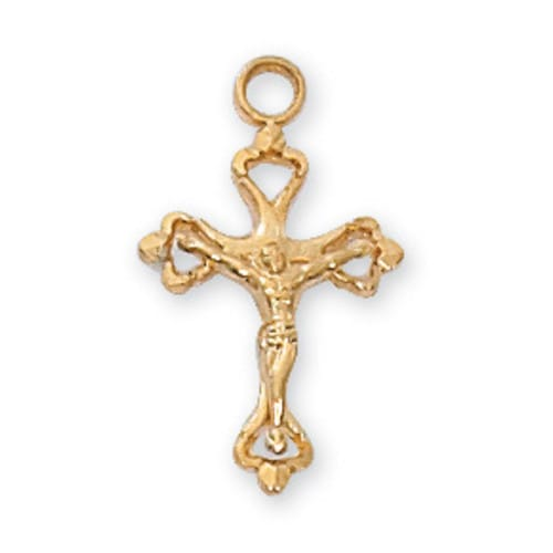 Gold/Sterling Silver Crucifix with 16 inch chain
