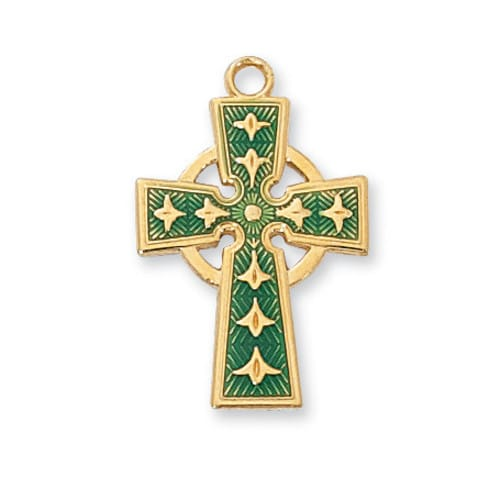 Gold/Sterling Silver Green Celtic Cross w/18 inch Chain