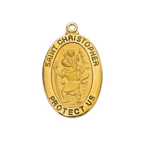 Gold/Sterling Silver St. Christopher Medal with 20 inch chain