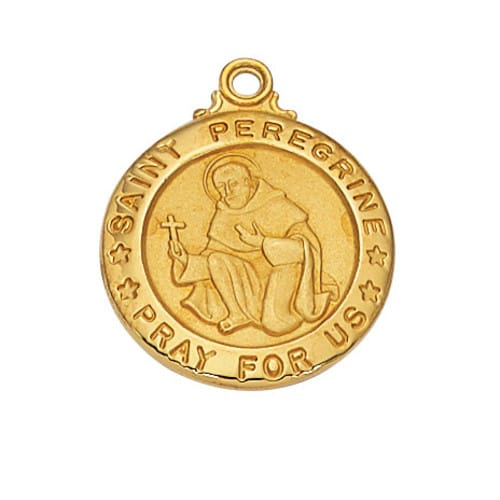 Gold/Sterling Silver St. Peregrine Medal with 20 inch chain
