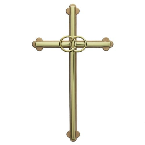 gold wedding cross with gold rings 8 inch - Cross Wedding Rings