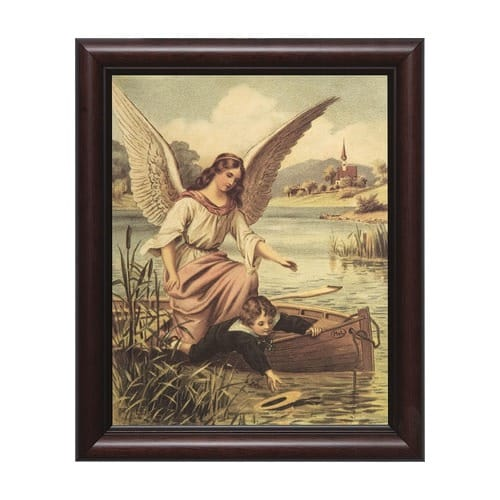 Guardian Angel with Boy in Boat w/ Cherry Frame (8x10)