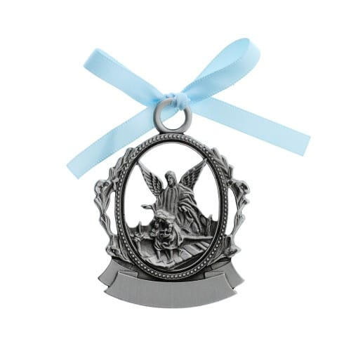 Guardian Angel Crib Medal - Blue Ribbon