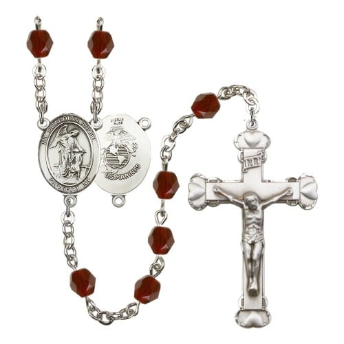 Guardian Angel / Marine Corp Red January Rosary 6mm