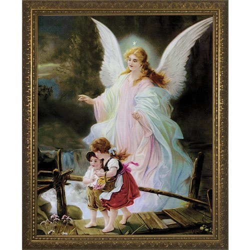Guardian Angel on the Perilous Bridge w/ Gold Frame | The Catholic ...