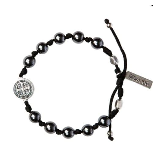 15aab310412 Hematite St. Benedict Blessing Bracelet For Men | The Catholic Company