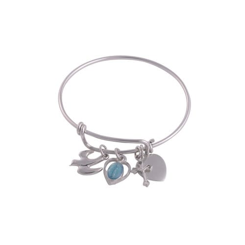 Youth Holy Charms Bangle Bracelet with Engravable Heart