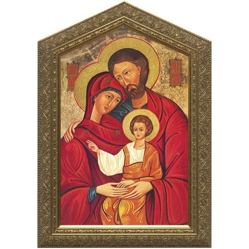 Holy Family Icon w/ Peaked Gold Frame