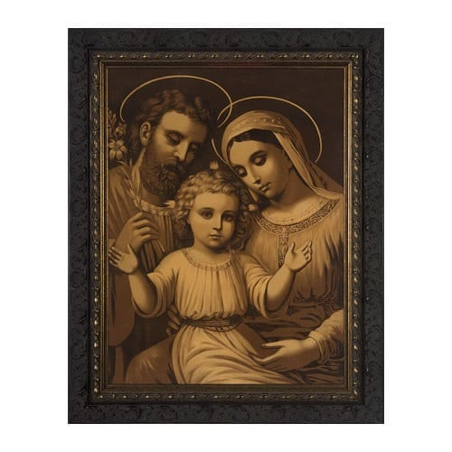 Holy Family w/ Dark Ornate Frame