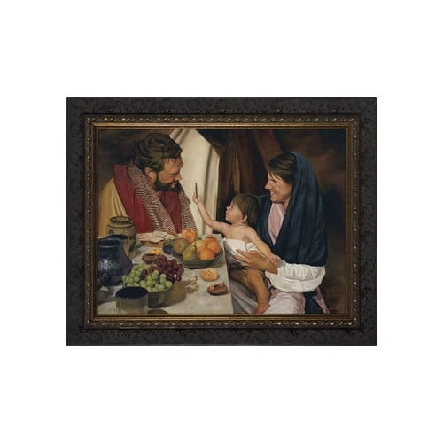 The Holy Family w/ Dark Ornate Frame