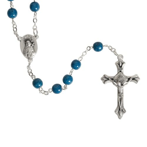 Holy Land Blue Glass Rosary