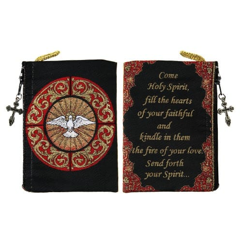 Holy Spirit Glass Window Rosary Pouch