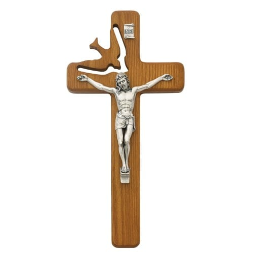 Holy Spirit Wood Crucifix - 8 inch