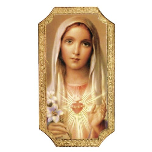 Immaculate Heart Of Mary Plaque, 5X9