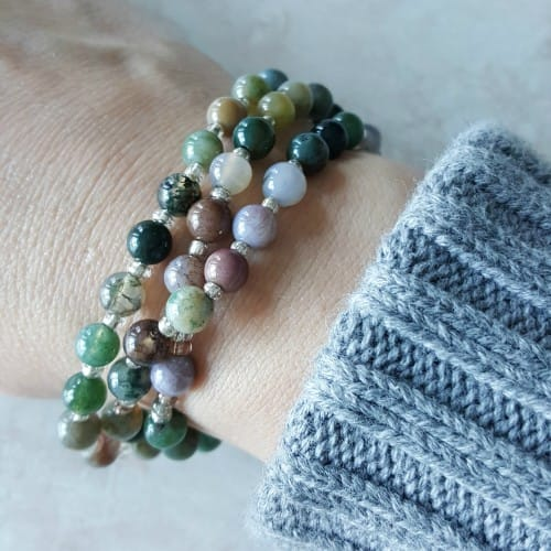Indian Agate Rosary Wrap Bracelet