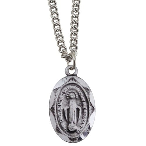 Infant Oval Miraculous Medal - Sterling Silver with 13 inch chain